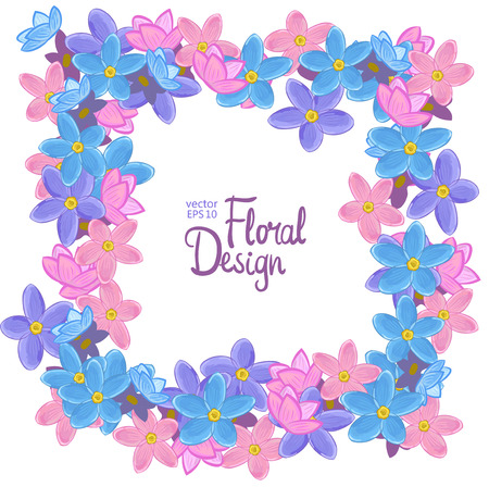 forget me not: Vector square frame with blue, pink and violet forget-me-not flowers