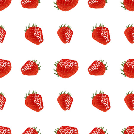 ripe: Seamless pattern with red ripe strawberry on white background.