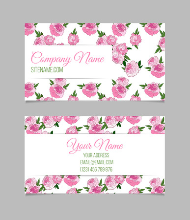 Double sided floral business card template with pink peonies double sided floral business card template with pink peonies on white background stock vector fbccfo Gallery