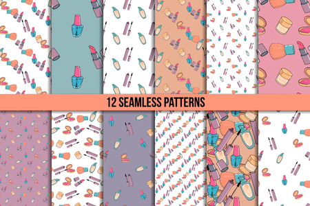 Makeup seamless pattern set. Mascara, lipstick, concealer and blusher. Twelve vector backgrounds