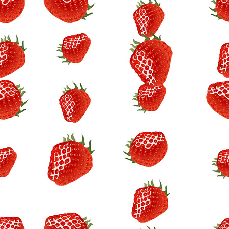 womanlike: Seamless pattern with strawberry on white background