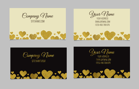 Business card template. Visiting card set with golden foil heart shape design. Double-sided vector business cards.