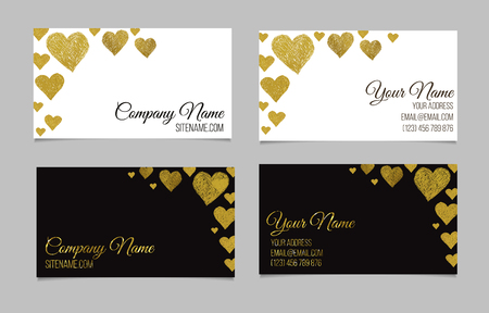 Business card template. Visiting card set with golden foil heart shape design. Double-sided vector business cards. Two business cards Çizim