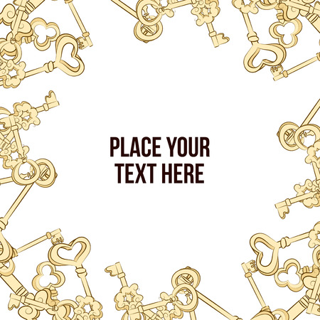 passkey: Vector hand drawn frame with keys. Golden keys background Illustration