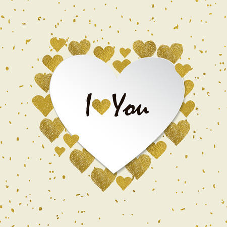 love you: Heart shaped frame. Golden foil hearts and place for your text on white background. Valentines day frame with words I love You Illustration