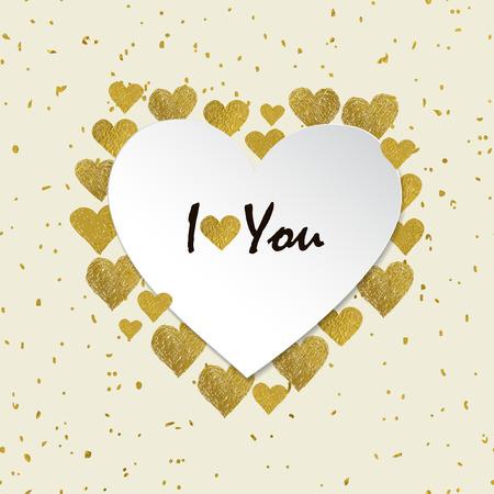 carta de amor: Marco del corazón en forma. corazones hoja de oro y el lugar de su texto sobre fondo blanco. De San Valentín marco del día con las palabras te amo