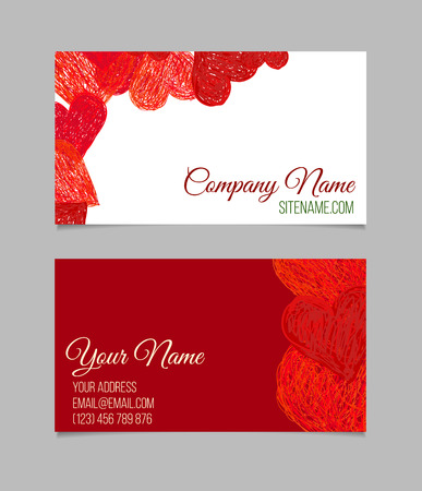 Business card template. Visiting card with red hand drawn hearts. Double-sided vector business card.