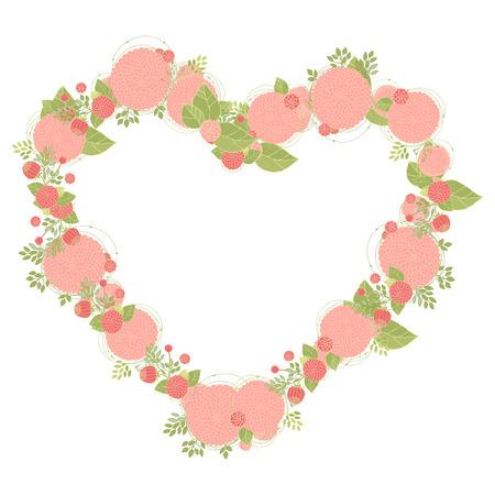 un: Abstract Flowers arranged un a shape of  heart.