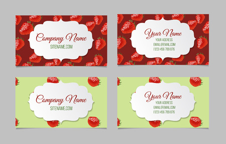 corporative: Vector business card set. This file can be used for advertising, print design. Visit card, invitation, greeting card. Two double-sided visit cards with strawberry