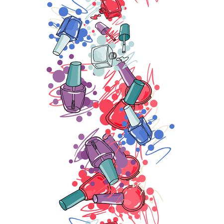 nail lacquer: Vector nail lacquer bottles. Hand drawn seamless border.