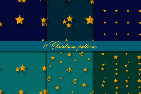 digital paper: Set of four seamless  patterns with  stars on blue and green backgrounds.  Digital paper Illustration