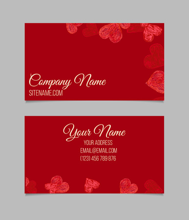 Visiting card with red hand drawn hearts. Double-sided vector business card.