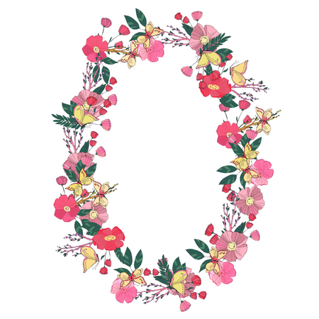 un: Hand drawn Flowers arranged un a shape of  oval wreath. Wildflowers vector Illustration