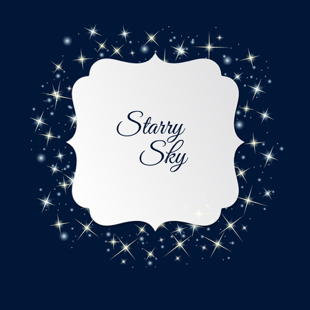 starry sky: White label with place for text on starry sky background. Starry border