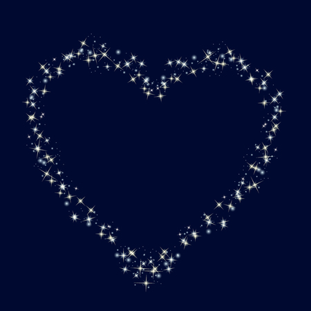 heartshaped: Starry heartshaped border on blue backgeound. Vector illustration. Copy-space