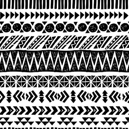 Negro sin fisuras y patrón azteca blanco, ilustración vectorial Foto de archivo - 51881107