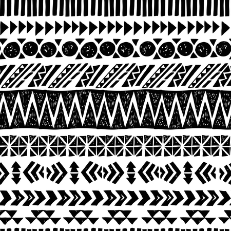 Seamless black and white aztec pattern, vector illustration