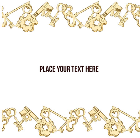 passkey: Vector hand drawn border with keys. Golden keys background