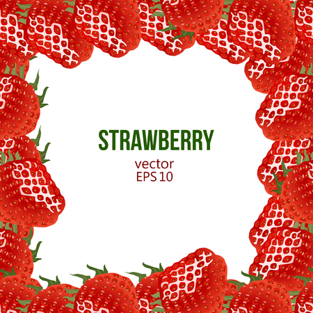 greengrocery: Strawberry frame, vector illustration. Border made of strawberry and place for text Illustration