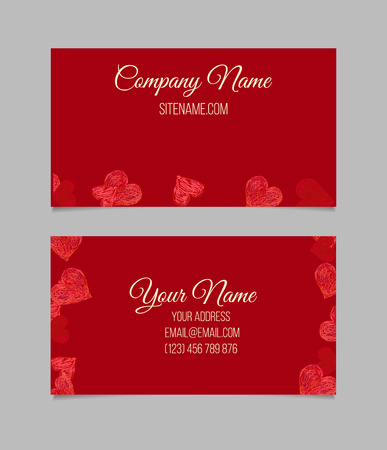 Business card template. Visiting card with red hand drawn hearts.