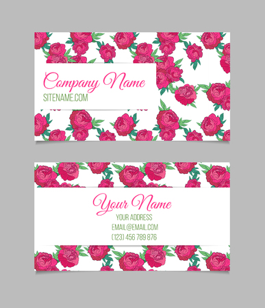 Doublesided Business Card Template With Beautiful Peonies On - Beautiful business card templates