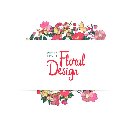 copy space: Floral vector frame. Hand-drawn flowers and place for your text.