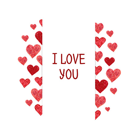 white frame love heart: Frame made of Hand drawn red hearts and place for your text. Valentines day frame with words I love You