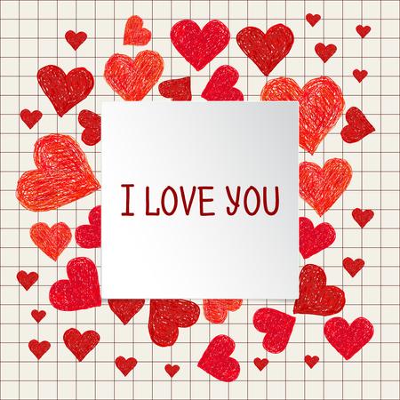 te amo: Cap�tulo hecho de corazones rojos y mano dibujado lugar para el texto. marco del d�a de San Valent�n con las palabras te amo