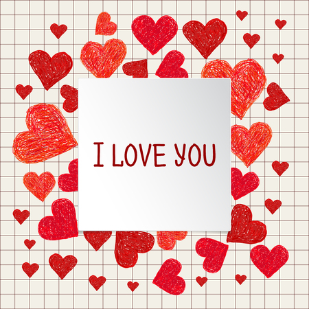 love illustration: Frame made of Hand drawn red hearts and place for your text. Valentines day frame with words I love You