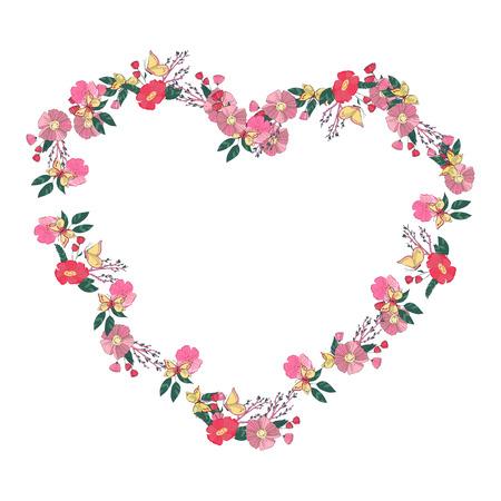 flower shape: Hand drawn Flowers arranged un a shape of  heart. Wildflowers vector wreath Illustration
