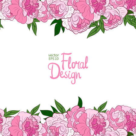 peonies: Horisontal border with pink peonies on a white background.