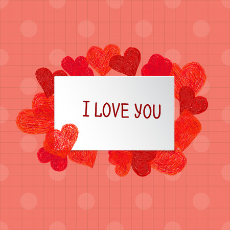 you: Frame made of Hand drawn red hearts and place for your text. Valentines day frame with words I love You