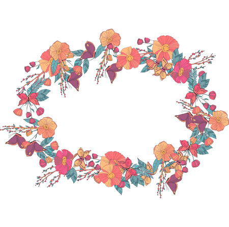 butterfly in hand: Hand drawn Flowers arranged un a shape of  oval wreath. Wildflowers vector Illustration