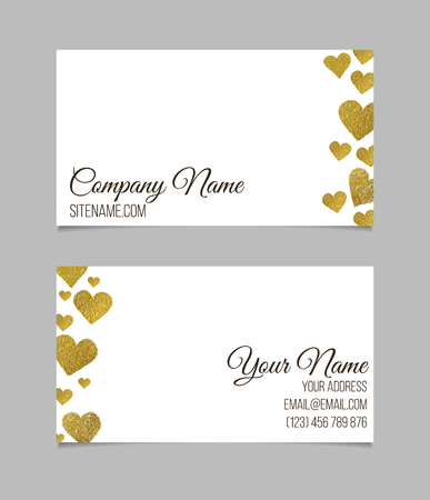 love symbols: Business card template. Visiting card with golden foil heart shapes on white background. Double-sided vector business card. Illustration