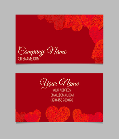 love shape: Business card template. Visiting card with red hand drawn hearts.
