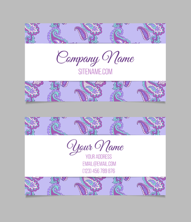 asian business: Double-sided  business card template. Asian Paisley vector visiting card
