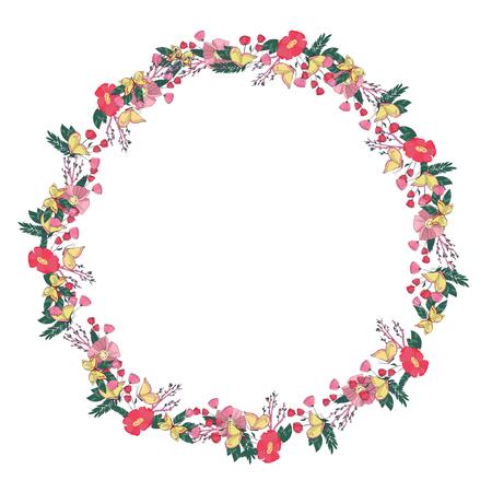 un: Hand drawn Flowers arranged un a shape of  wreath. Wildflowers vector Stock Photo