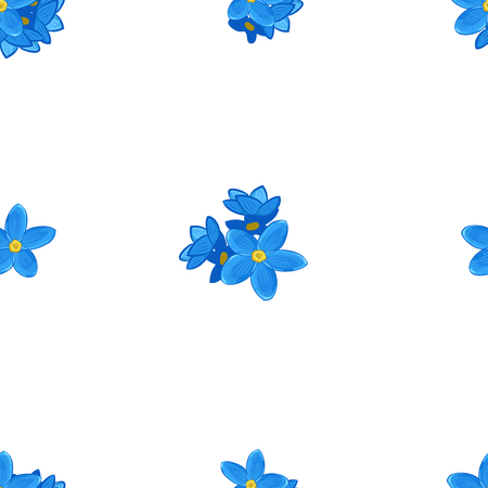 forget me not: Stylish floral seamless pattern with forget-me-not. Forget me not flowers on white background.