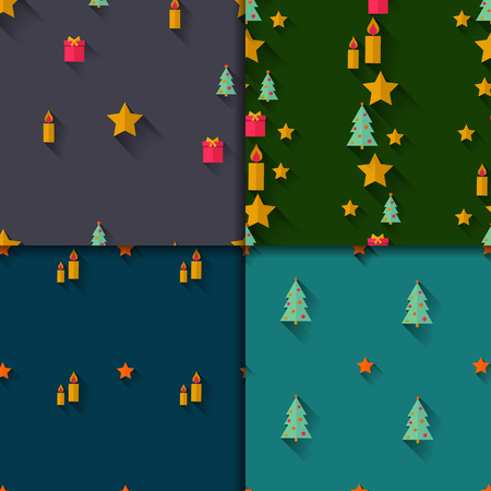 Vector set. Four seamless patterns. Christmas trees candles gifts and stars. Flat design