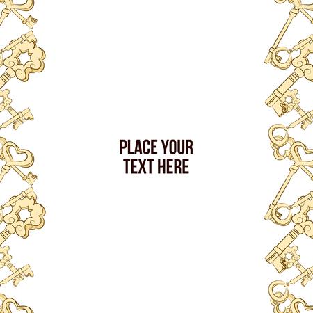 hand drawn frame: Vector hand drawn frame with keys. Golden keys background Illustration