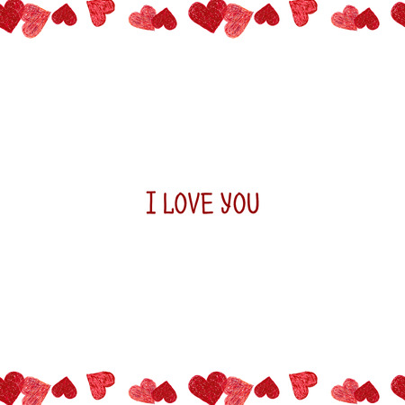 ketch: Hand drawn border made of red hearts. Valentines day design. Doodle heart Stock Photo