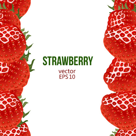 greengrocery: Strawberry frame, vector illustration. Border made of strawberry and place for text. Sweet fresh berries