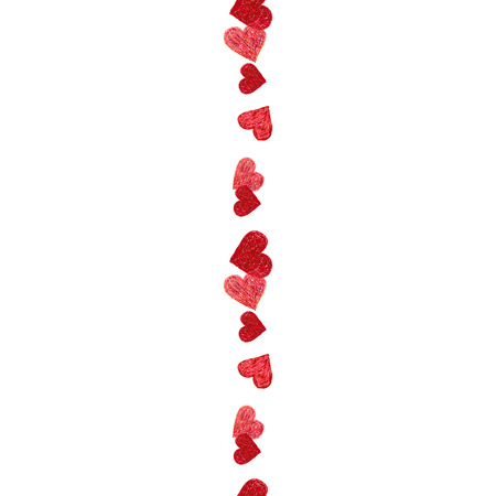 ketch: Hand drawn seamless border made of red hearts. Valentines day design. Doodle heart