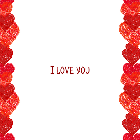 ketch: Hand drawn border made of red hearts. Valentines day design. Doodle heart Illustration