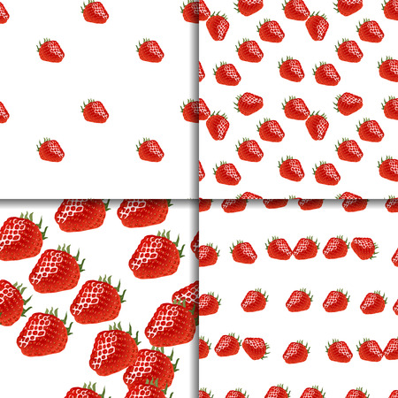 womanlike: Seamless pattern set with  red ripe strawberry on white. Four backgrounds for your design