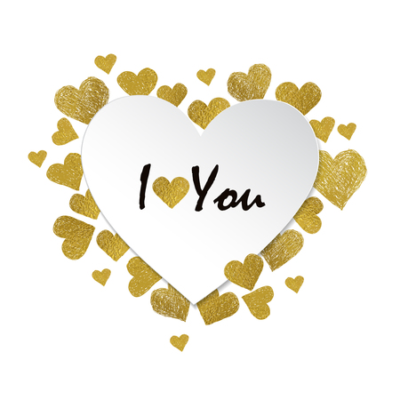 letter i: Heart shaped frame. Golden foil hearts and place for your text on white background. Valentines day frame with words I love You Illustration