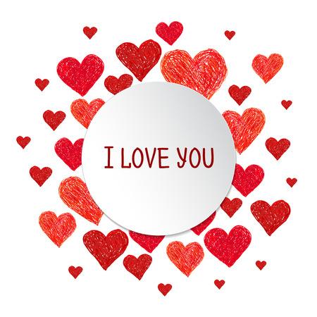 Marco del círculo. Mano corazones rojos y dibuja lugar para el texto sobre fondo blanco. De San Valentín marco del día con las palabras te amo Ilustración de vector