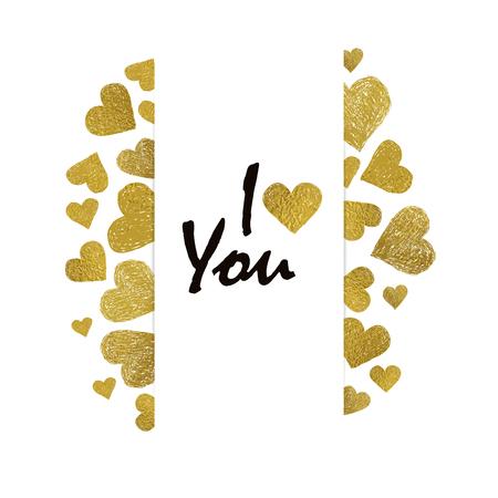 carta de amor: Border hizo de corazones hoja de oro y lugar para su texto sobre fondo blanco. De San Valent�n marco del d�a con las palabras te amo