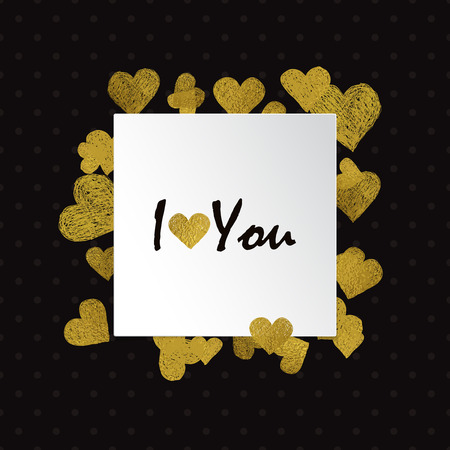 letter i: Border made of Golden foil hearts and place for your text on white background. Valentines day frame with words I love You Illustration