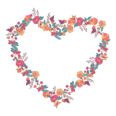 un: Hand drawn Flowers arranged un a shape of  heart. Wildflowers vector wreath Illustration